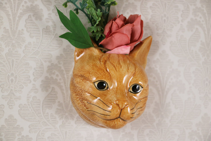 Vincent the ginger cat small wallvase