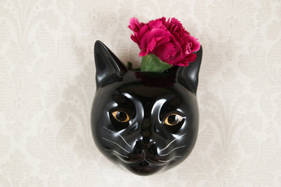 Lucky the black cat small wallvase