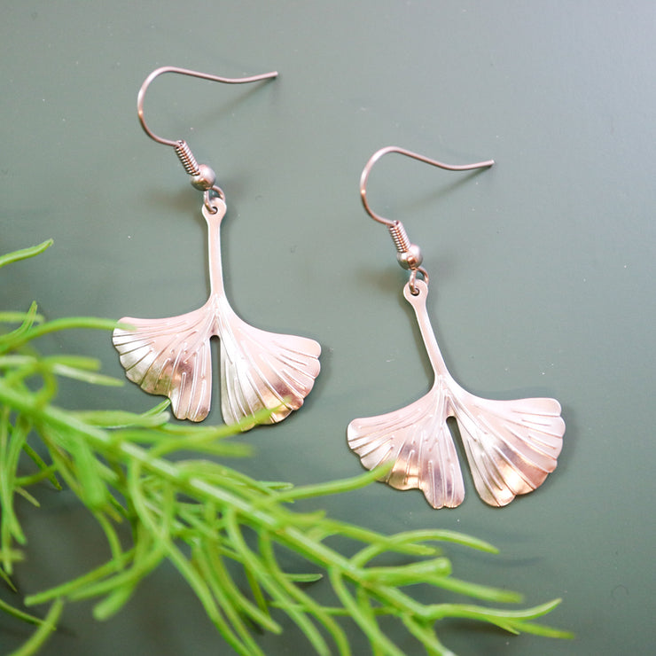 Molded silver ginkgo earrings