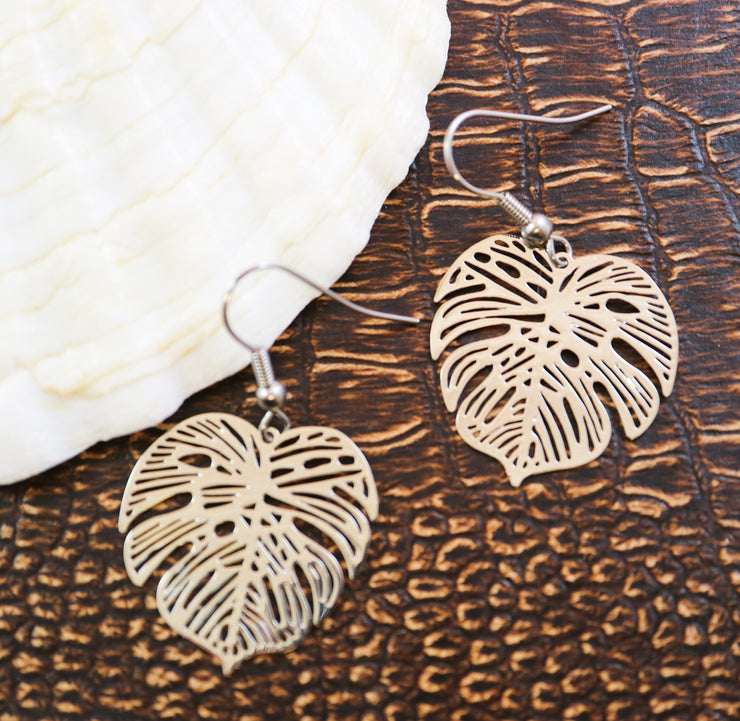Spindly silver monstera earrings