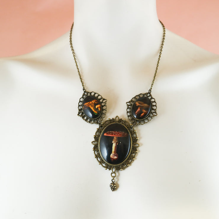 The shroom queen mushroom statement necklace