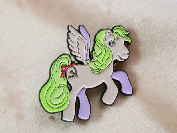 Pink my little pony activist enamel pin by Malin Granroth