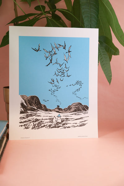 Moomin print by the sea