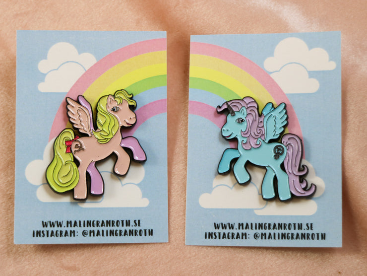Blue my little pony activist enamel pin by Malin Granroth