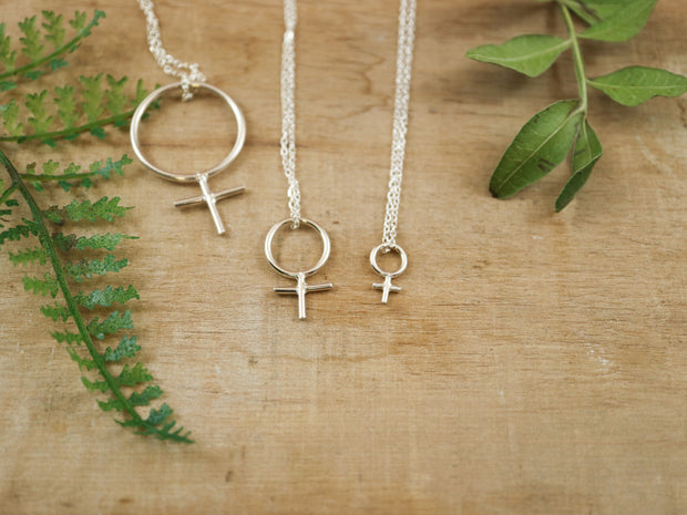 Sterling silver mini feminist necklace