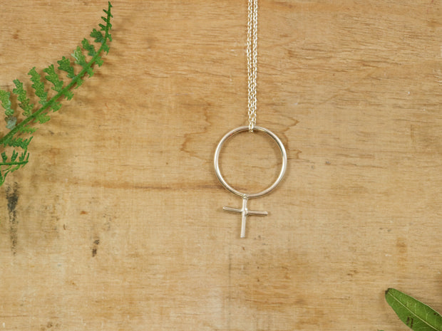 Sterling silver maxi feminist necklace