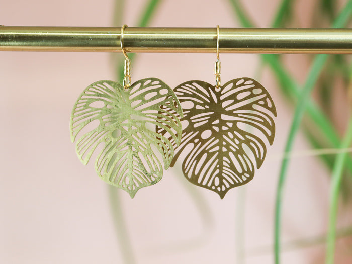 Golden monstera small earrings