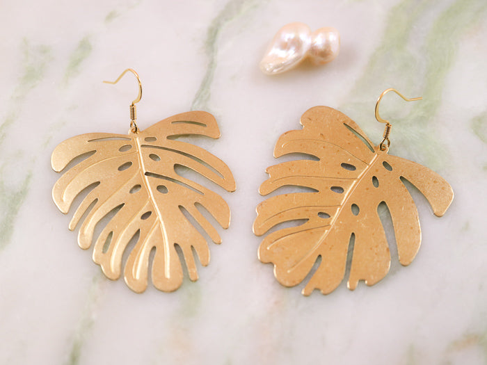 Golden monstera deliciosa big earrings
