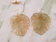 Golden monstera big earrings