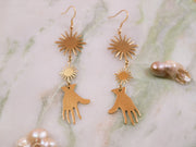 Golden Frida palm earrings