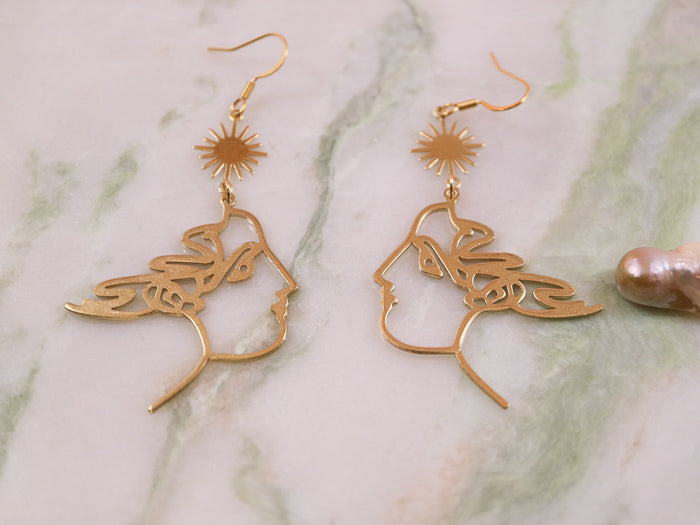 Golden goddess big earrings