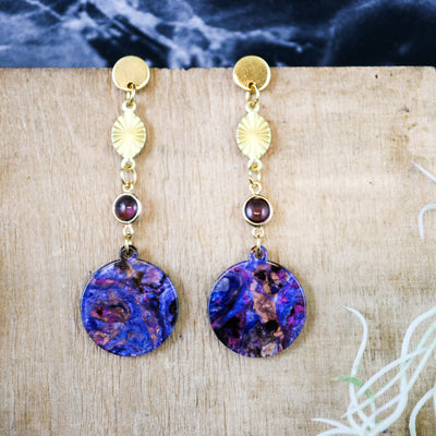 Purple swirl and glass pearl earrings (Limited edition)