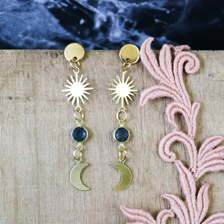 Small celestial moon teal earrings (Limited edition)