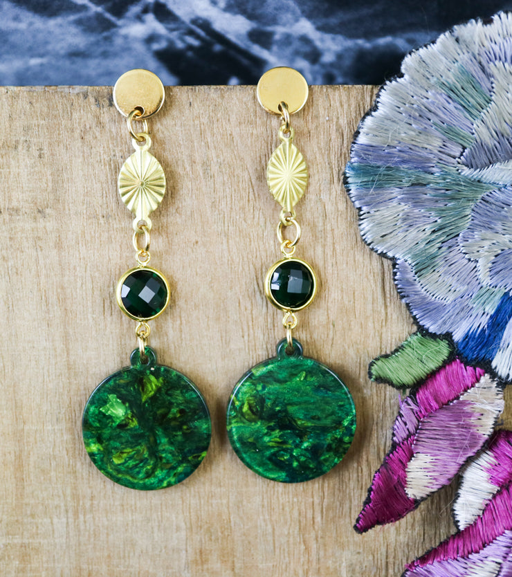 Green swirl and glass pearl earrings (Limited edition)