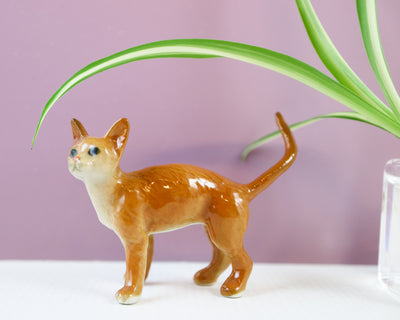 Miniature ginger cat figurine