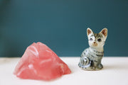 Miniature grey cat figurine