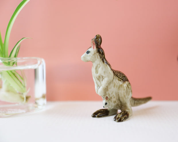 Miniature kangaroo with joey figurine