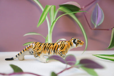 Miniature stalking tiger figurine