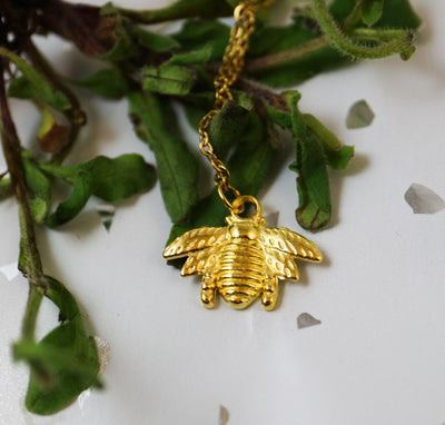 Golden honey bee necklace