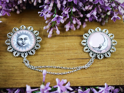 Pink sun & moon collar brooch