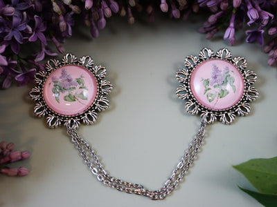 Lilac floral collar brooch