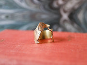 Wrap-around hand sawed & engraved dachshund ring