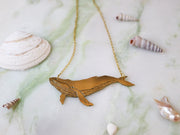 Big whale hand sawed & engraved brass necklace