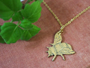 The busy bumblebee hand sawed & engraved brass necklace