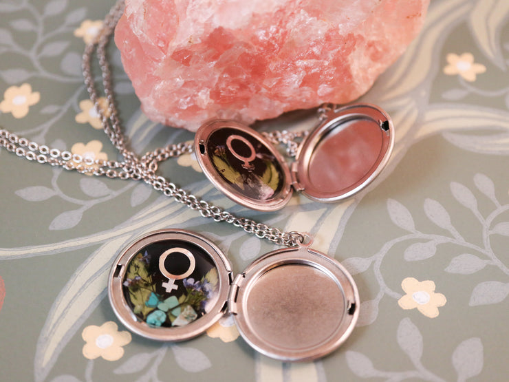 Feminist botany silver locket necklace