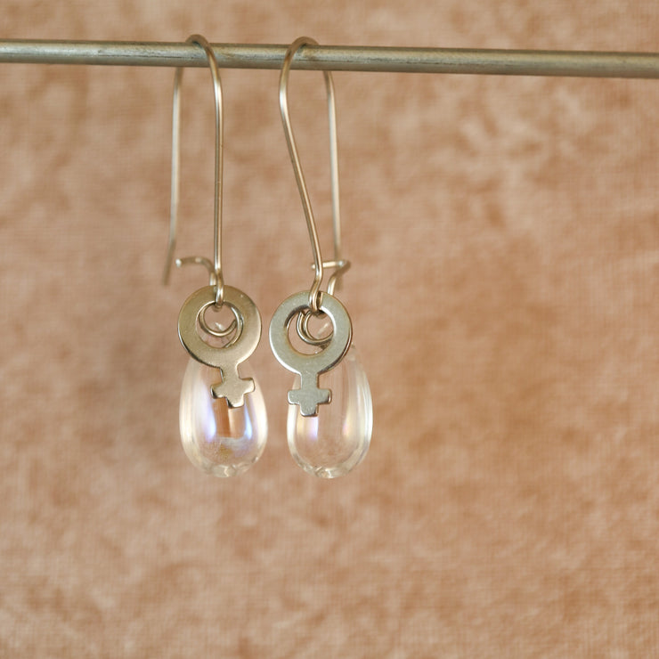 Male tears silver earrings