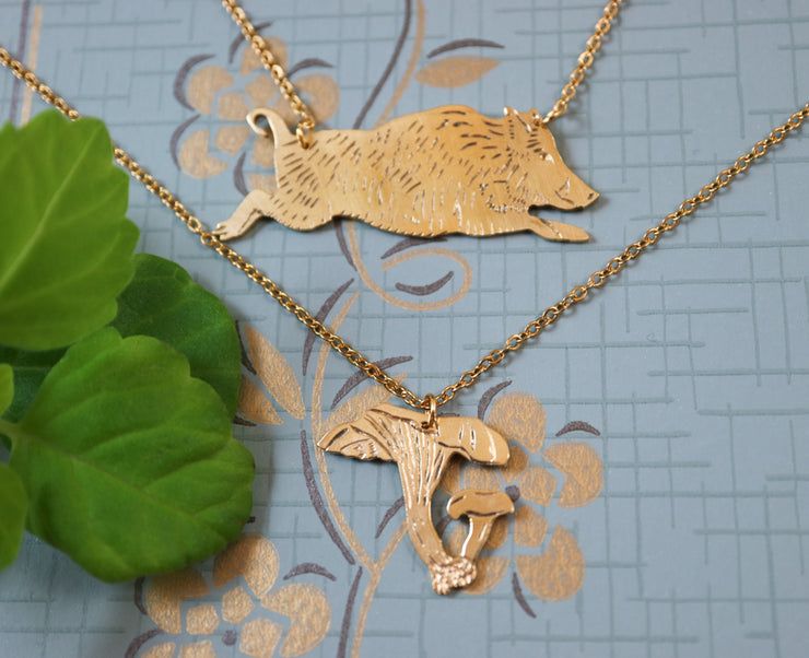 Wild boar hand sawed & engraved brass necklace