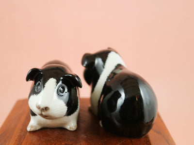 Black and white guinea pig salt and pepper shakers