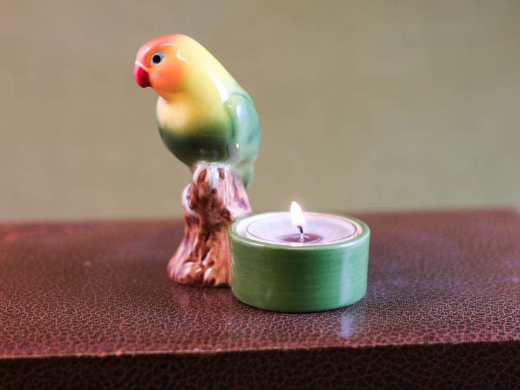 Lovebird tea light holder