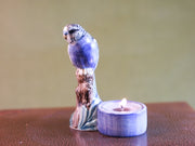 Violet budgerigar tea light holder