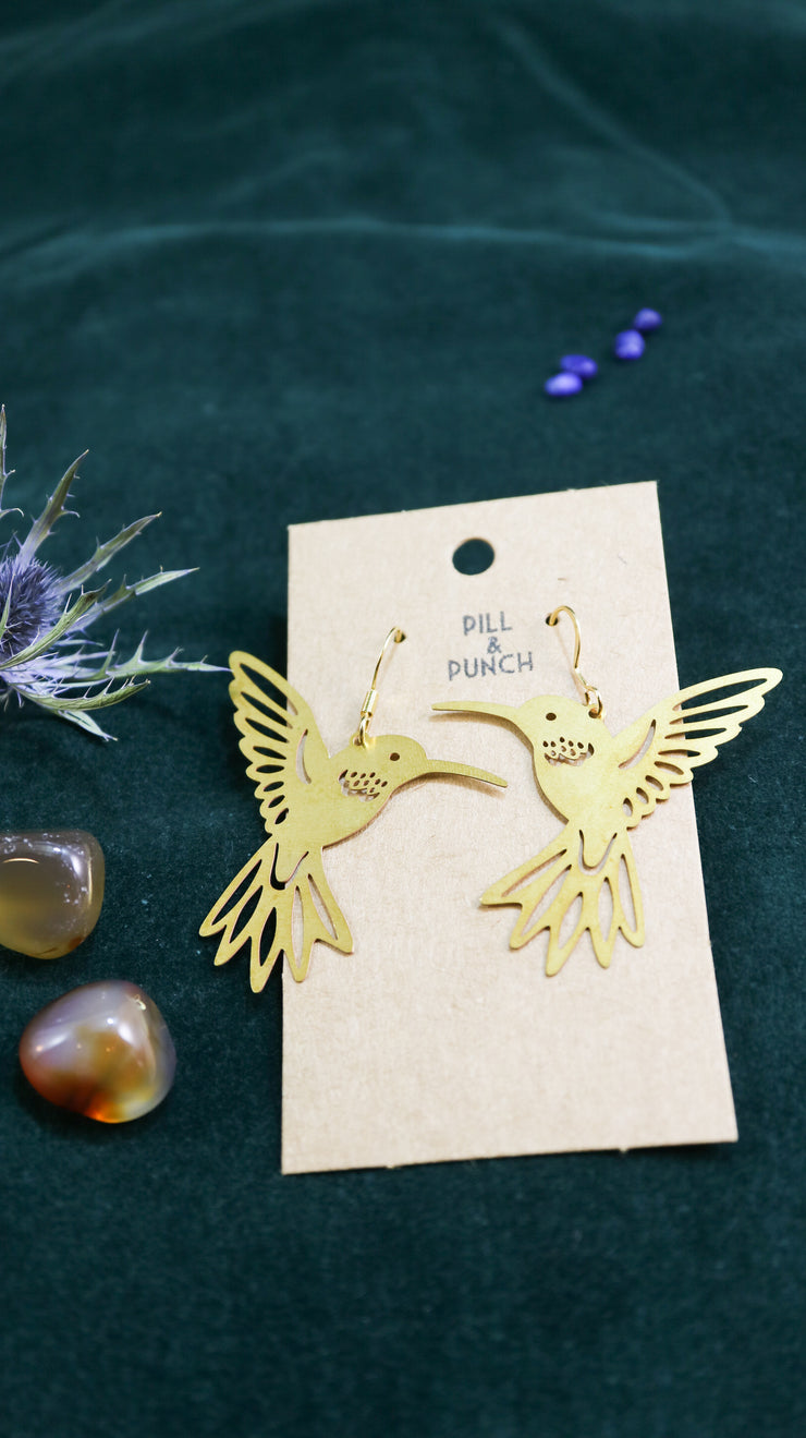 Golden kolibri earrings
