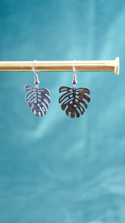 Black monstera earrings