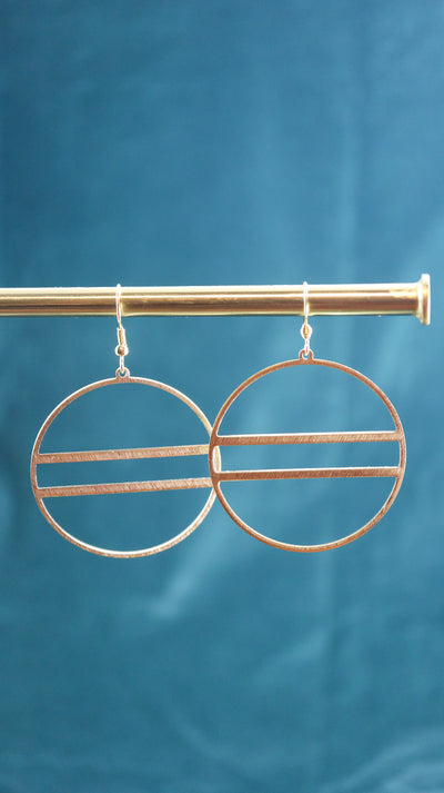 golden circle art deco earrings