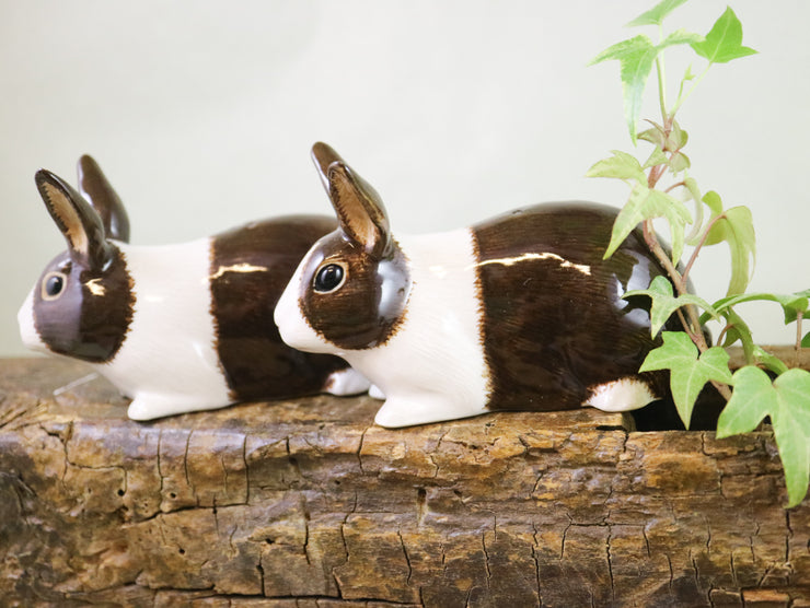 Brown and white dutch rabbits salt and pepper shakers