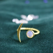 Opalite thin crescent moon ring