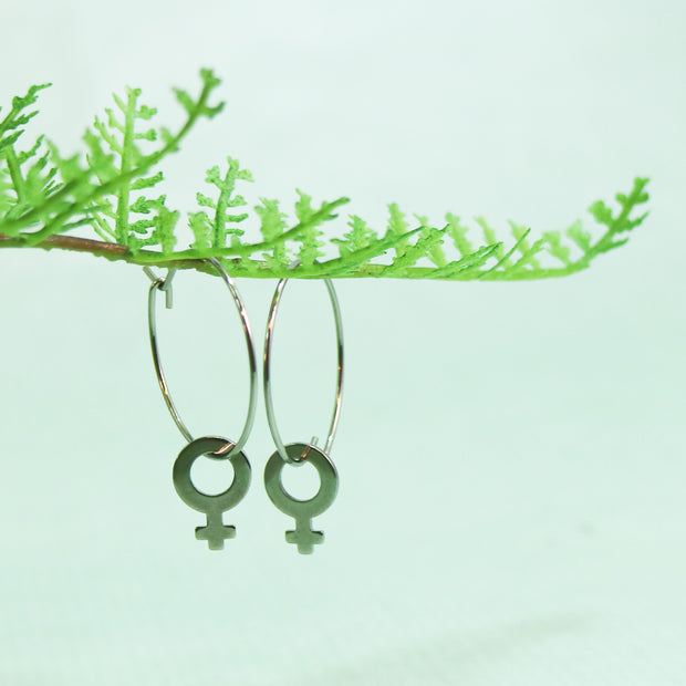 Silver venus small hoop earrings