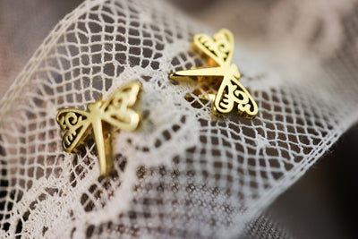 Golden dragonfly stainless stud earrings