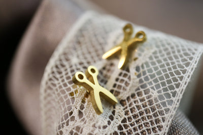Golden scissor stainless stud earrings