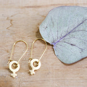 Golden venus hook earrings