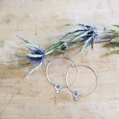 Silver venus large hoop earrings