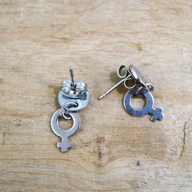 Silver venus dangle stud earrings
