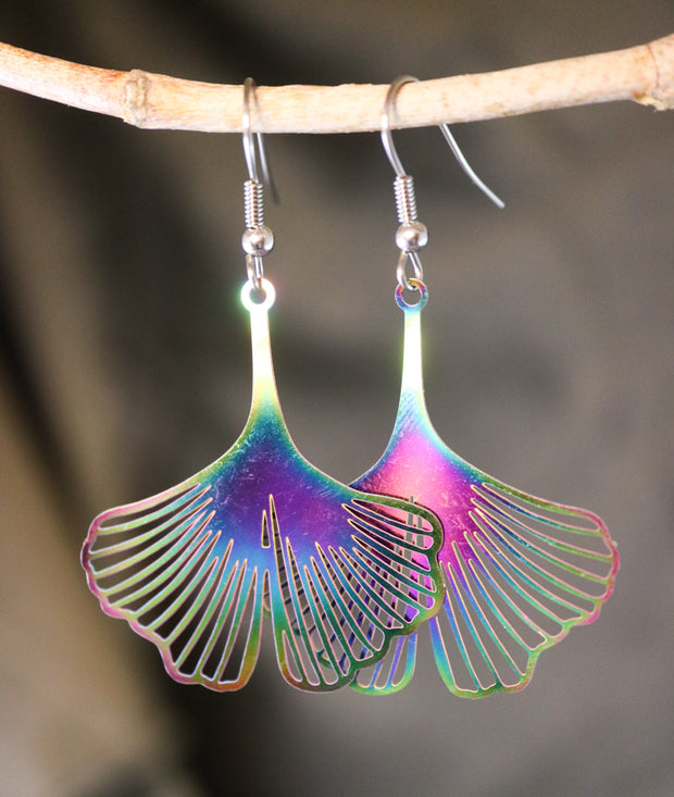 Titanium ginkgo earrings