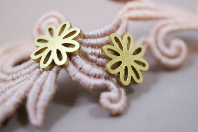 Golden blossom stainless stud earrings