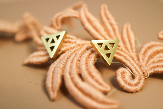 Golden triangular stainless stud earrings