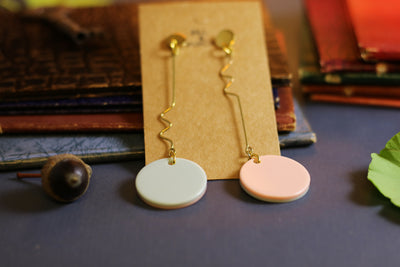 Two-faced pink & blue dangle earrings