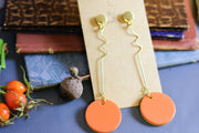 Two-faced saffron & yellow dangle earrings